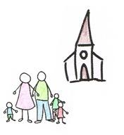 Familie mit Kirche